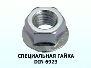 Специальная гайка М6 DIN 6923 c фланцем